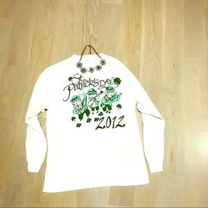 Saint Patrick's 12' Day long sleeve white Lg top!